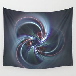 Moons Fractal in Cool Tones Wall Tapestry