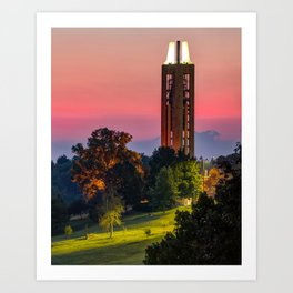 Campanile Bell Tower Over Kaw Valley - Lawrence Kansas Art Print