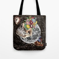novelty Tote Bags featuring Universe Striving for Novelty by Eugenia Loli
