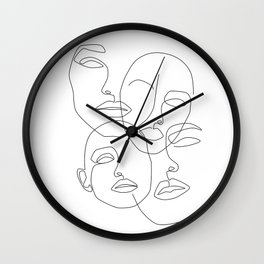 Messy Faces Wall Clock