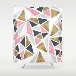 Modern geometrical pink navy blue gold triangles pattern Shower Curtain