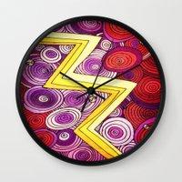 lightning Wall Clocks featuring Lightning by DuckyB