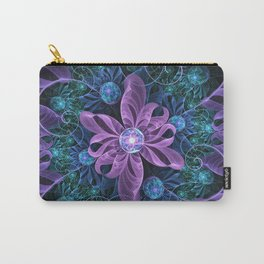 Bejeweled Butterfly Lily of Ultra-Violet Turquoise Carry-All Pouch