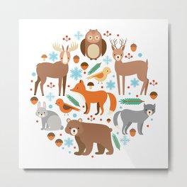 Cartoon Cute Animals Metal Print