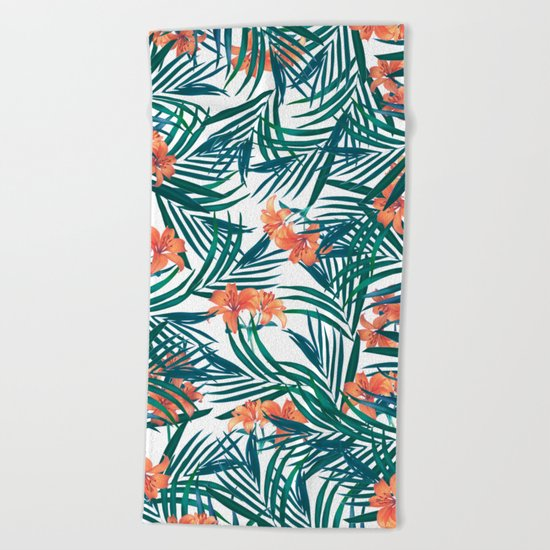Tropical Lilies Beach Towel