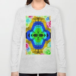 funny skull portrait with colorful roses in pink blue yellow green Long Sleeve T-shirt