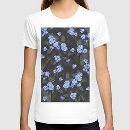 Blue Dark Floral Garden: Forget-me-nots T-shirt