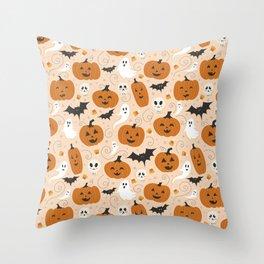 Pumpkin Party on Beige Throw Pillow