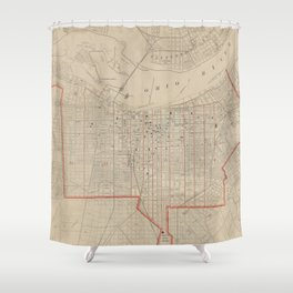 Vintage Map of Louisville KY (1880) Shower Curtain