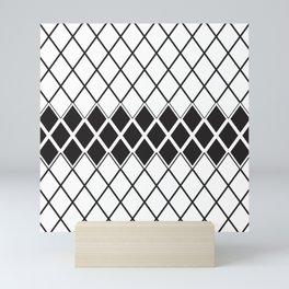 Rhombs Black and white pattern Mini Art Print