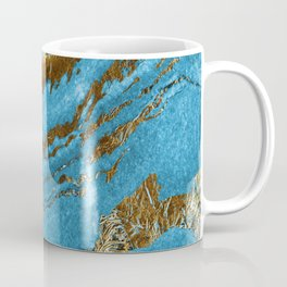 Ocean Blue and Gold Marble Design Coffee Mug