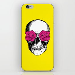 Skull and Roses | Skull and Flowers | Vintage Skull | Yellow and Pink | iPhone Skin