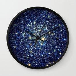 galaxY Stars : Midnight Blue & Gold Wall Clock