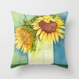 Sleepytime Sunflowers Throw Pillow