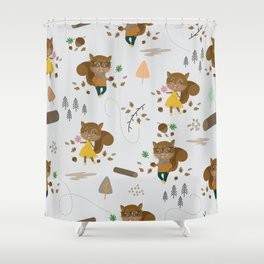 Mr and Mrs Squirrel Grey Background Shower Curtain