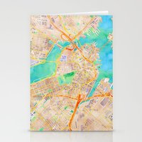 boston map Stationery Cards featuring Boston watercolor map Downtown by Cityette