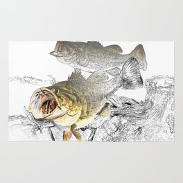 Largemouth Black Bass Fishing Art Rug