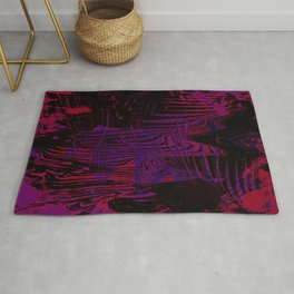Disoriented Palette; Pink, Black and Purple Rug