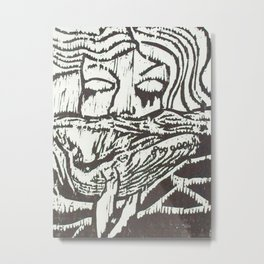 Woman, Whale and the Sea- Woodcut Metal Print