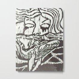 Woman, Whale and the Sea- Woodcut Metal Print