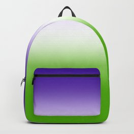 Purple and White and Green Gradient Backpack
