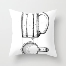 Beer Mug Patent - Craft Beer Art - Black And White Throw Pillow
