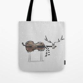 Christmas Violin Reindeer Tote Bag