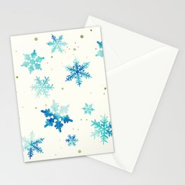 ICY BLUE SNOWFLAKE PATTERN Stationery Cards