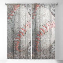 Baseball art Sheer Curtain