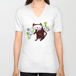 A little otter with flowers Unisex V-Neck