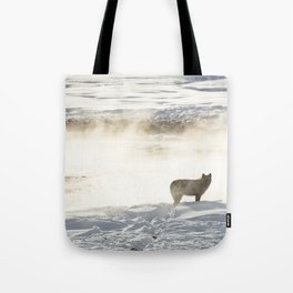 Yellowstone National Park - Wolf and Hot Spring Tote Bag