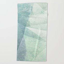 Frozen Geometry - Teal & Turquoise Beach Towel