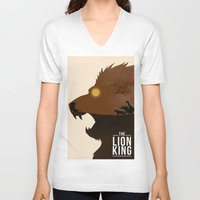 simba V-neck T-shirts featuring The Lion King by Rowan Stocks-Moore