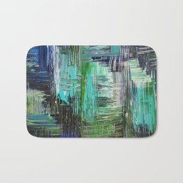 AQUATIC COMMOTION in Color - Textural Ocean Beach Nautical Abstract Acrylic Painting Wow Winter Xmas Bath Mat