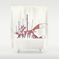 ale giorgini Shower Curtains featuring Foxes by Ale Giorgini