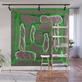 vintage psychedelic painting texture abstract background in green and brown Wall Mural