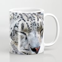 snow leopard Mugs featuring Snow leopard by Laura Grove