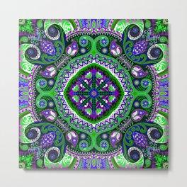 Boho Kaleidoscope Floral Pattern Var. 4 Metal Print