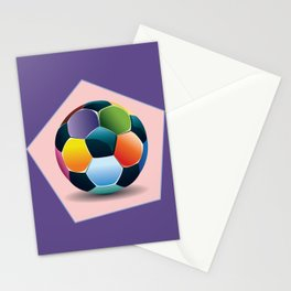Soccer ball inside pink pentagon Stationery Cards