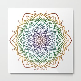 Floral Mandala A - Rainbow Line Metal Print