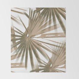 Brown on White Tropical Vibes Beach Palmtree Vector Throw Blanket