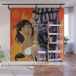 Wahine, Moon And Fire Wall Mural