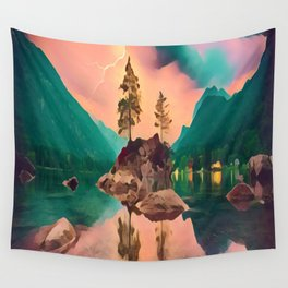 Rock Island, Lightning Background Wall Tapestry