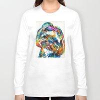 shih tzu Long Sleeve T-shirts featuring Colorful Shih Tzu Dog Art By Sharon Cummings by Sharon Cummings