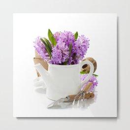 Beautiful Hyacinths in vase and garden tools Metal Print