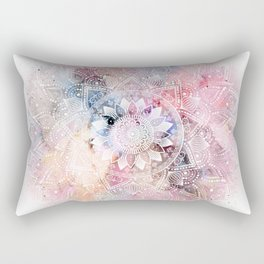 Whimsical white watercolor mandala design Rectangular Pillow