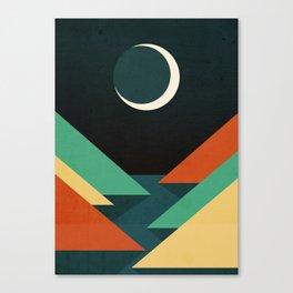 Quiet stream under crescent moon Canvas Print