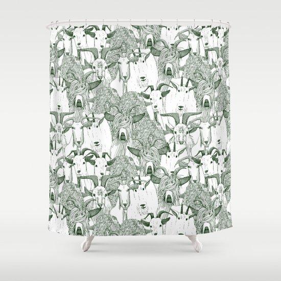 Just Goats Dark Green Shower Curtain By Sharon Turner