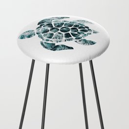 Sea Turtle - Turquoise Ocean Waves Counter Stool