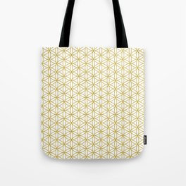 Flower of Life Pattern – Gold & White Tote Bag
